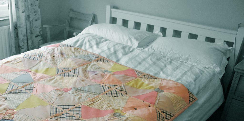 Memorial Interlocking fabric heart quilt