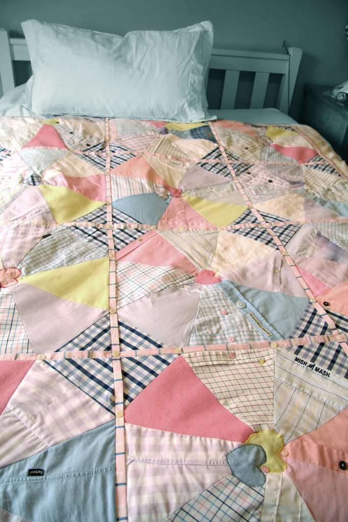 Memorial Interlocking fabric heart quilt